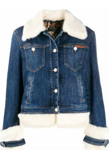 Dolce & Gabbana Jaqueta Jeans Com Acabamento Em Pelos - Azul