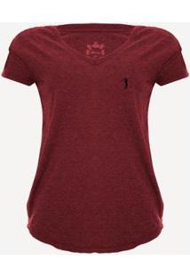 Camiseta Aleatory Gola V Básica Feminina - Feminino-Vermelho
