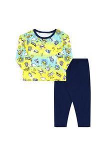 Pijama Infantil Masculino Camiseta Manga Longa Espaço E Calça Azul Marinho (4/6/8) - Kappes - Tamanho 8 - Azul Marinho