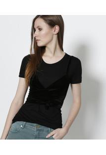2c3d234a89 Camiseta Manga Curta Veludo feminina