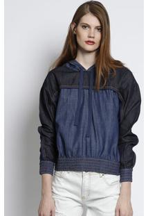 bb6e4ca802 Blusão Jeans Com Pespontos - Azul Escuroforum