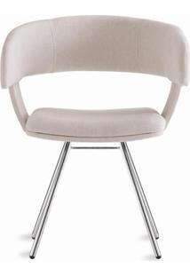 Cadeira Inhotim Assento Estofado Rustico Cru Base Cromada - 55876 Sun House