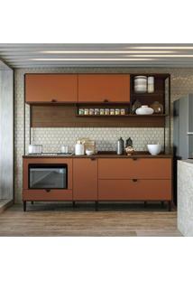 Cozinha Compacta 2 Peças Cbpo020 – Kappesberg Pop - Jacarandá / Terracota