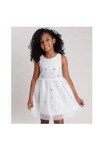 Vestido Infantil Em Tule Com Paetê Sem Manga Off White