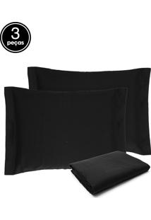 Kit 3Pçs Colcha Casal Becadecor Piquet Preto