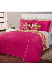 Kit Cobre Leito Helena Floral Pink/Caqui Queen 07 Peças Dupla Face Dourados Enxovais