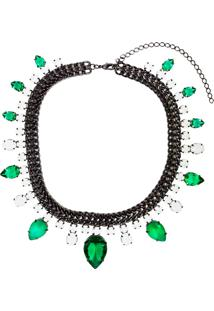Colar Malha Negra Mix Pedra Esmeralda Fusion E Leitosas Banhado A Ródio Negro