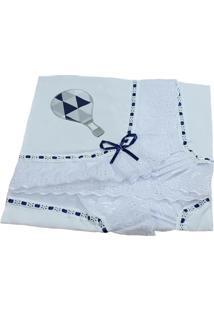 Manta Laura Baby Piquet Balão Branca/Azul-Marinho