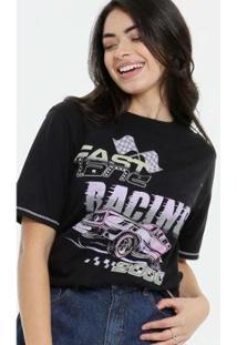 Camiseta Estampa Frontal Manga Curta Marisa Feminina - Feminino-Preto