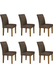 Conjunto Com 6 Cadeiras Olímpia Imbuia Mel E Linho Marrom