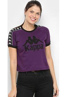 Camiseta Kappa Cropped Piaza Feminina - Feminino-Roxo