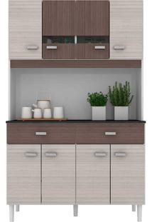 Cozinha Compacta 8 Portas E Gavetas Manu - Poquema - Amendoa / Capuccino
