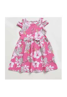 Vestido Infantil Open Shoulder Estampa Floral Tam 1 A 3