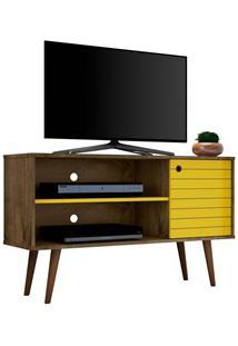 Rack Bancada Para Tv Até 42 Pol. Jade Madeira Rústica/Amarelo - Bechar