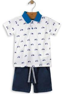 Conjunto Menino Polo E Bermuda Azul