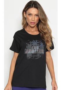 """Camiseta """"Los Angeles"""" - Preta & Cinza Escurocalvin Klein"""