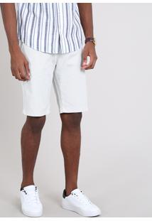 Bermuda Masculina Slim Com Bolsos E Cinto Off White