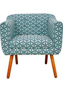 Poltrona Decorativa Julia Linho Floral Geométrico Azul A31 - D'Rossi