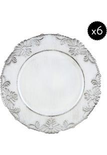 Jogo De Sousplat Flowers- Branco- 6Pçsbon Gourmet