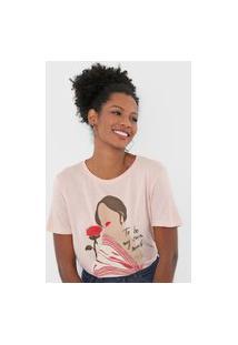 Camiseta Dzarm Estampada Rosa