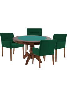 Mesa De Jogos Carteado Redonda Montreal Tampo Reversível Imbuia Com 4 Cadeiras Vicenza Verde - Gran Belo