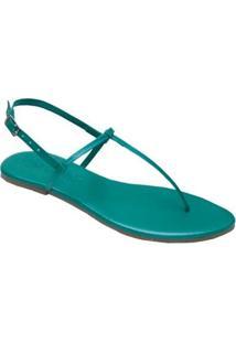 Rasteira Mercedita Shoes Metalizada Confortável Feminina - Feminino-Verde