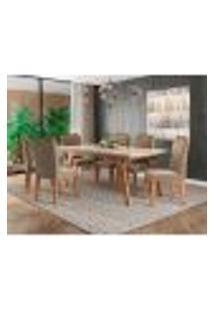 Conjunto De Mesa De Jantar Retangular Com Tampo De Vidro E 6 Cadeiras Estofadas Selena Suede Off White E Joli