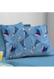 Fronha Avulsa Portallar Malha Estampada Disney Frozen Amizade Azul