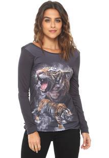 Camiseta Lez A Lez Wild Strass Cinza