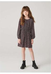 Vestido Infantil Menina Em Viscose Marrom