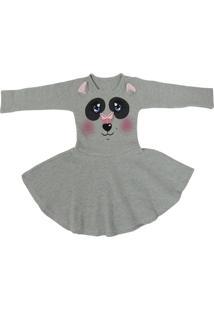 Vestido Bebê Manga Longa Com Estampa De Urso - Elian