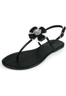 Rasteira Mercedita Shoes Napa Preto Com Flor Em Couro Branco E Preto