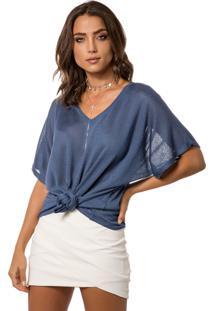Camiseta Myah Flávia Azul Nó