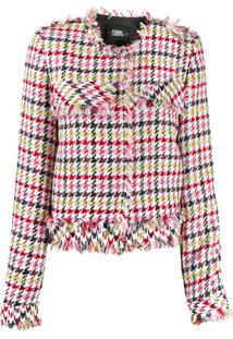 Karl Lagerfeld Fitted Houndstooth Boucle Jacket - Branco
