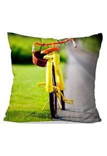Capa De Almofada Avulsa Decorativa Bike Yellow 45X45Cm