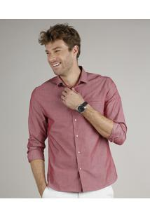 Camisa Masculina Slim Fit Estampada Manga Longa Vinho