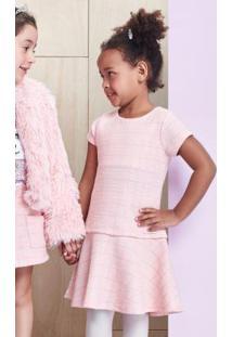 Vestido De Tweed Rosa