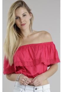 Blusa Cropped Ombro A Ombro Com Renda Pink