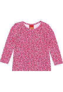 Camiseta Kyly Menina Floral Rosa