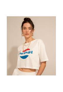 Camiseta Cropped Ampla De Algodão Pepsi Manga Curta Decote Redondo Off White