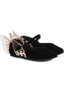 Sophia Webster Mini Sapato Boneca Com Asas Metálicas - Preto