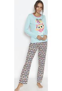 00ec13a43a6946 Pijama Coruja- Azul Claro & Rosapuket