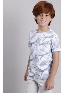 Camiseta Infantil Estampada De Folhagem Com Bolso Manga Curta Decote Redondo Off White