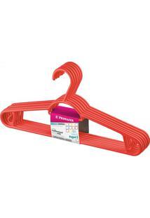 Cabide Em Plástico Pendura Mais Vermelho Com 6 Peças