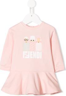 Fendi Kids Vestido Com Estampa Friends - Rosa