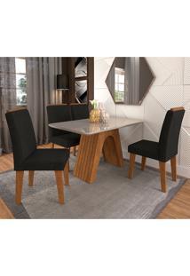 Conjunto De Mesa Clara Para Sala De Jantar Com 4 Cadeiras Taís Moldura -Cimol - Savana / Offwhite / Sued Preto