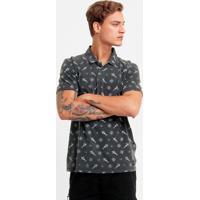 Camisa Polo Redley Estonada Mini Print - Masculino-Preto 3038449c3619f