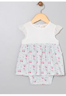 Vestido Body Infantil Estampa Floral Com Detalhe - Tam 0 A 18 Meses