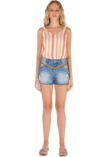 Shorts Zinco Five Pockets Bordado Jeans