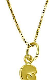 Brinco Em Ouro Pendulo Vazado Com Pérola - Br11671